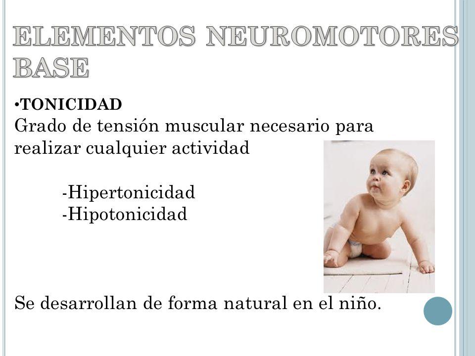 TONICIDAD Grado de tensión muscular necesario para realizar cualquier actividad -Hipertonicidad -Hipotonicidad Se desarrollan de forma natural en el niño.
