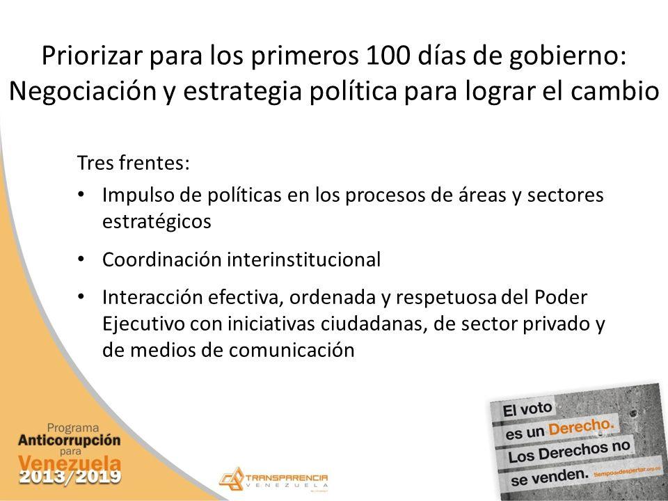 Priorizar para los primeros 100 días de gobierno: Negociación y estrategia política para lograr el cambio Tres frentes: Impulso de políticas en los pr