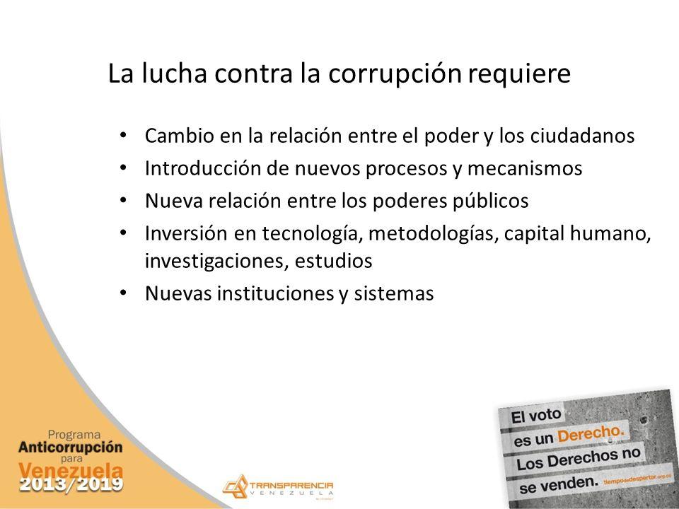 La lucha contra la corrupción requiere Cambio en la relación entre el poder y los ciudadanos Introducción de nuevos procesos y mecanismos Nueva relaci