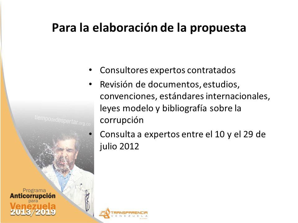 Para la elaboración de la propuesta Consultores expertos contratados Revisión de documentos, estudios, convenciones, estándares internacionales, leyes