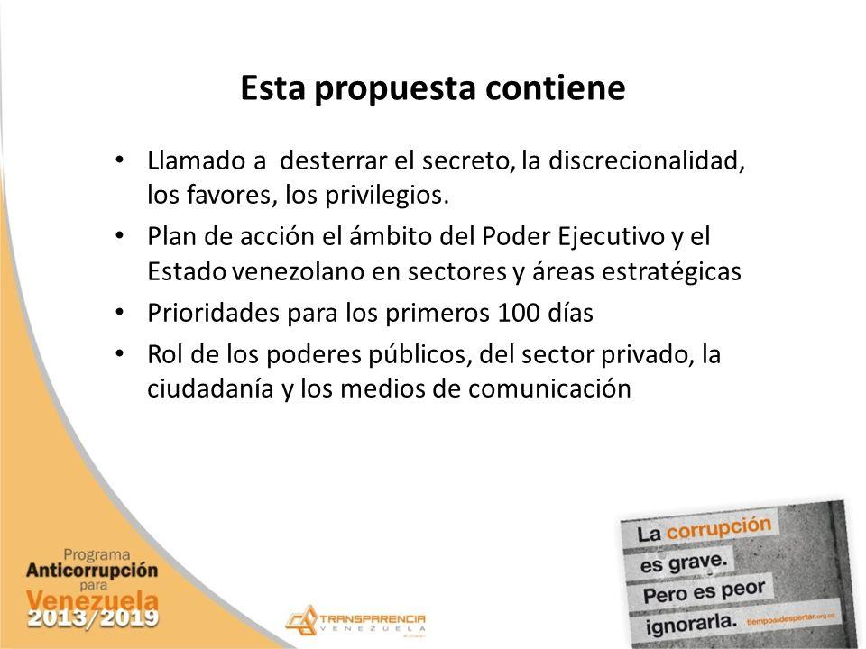 Esta propuesta contiene Llamado a desterrar el secreto, la discrecionalidad, los favores, los privilegios. Plan de acción el ámbito del Poder Ejecutiv