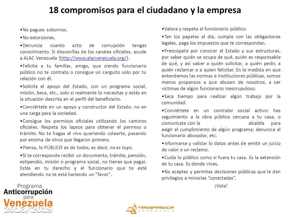 18 compromisos para el ciudadano y la empresa No pagues sobornos. No extorsiones. Denuncia cuanto acto de corrupción tengas conocimiento. Si desconfía