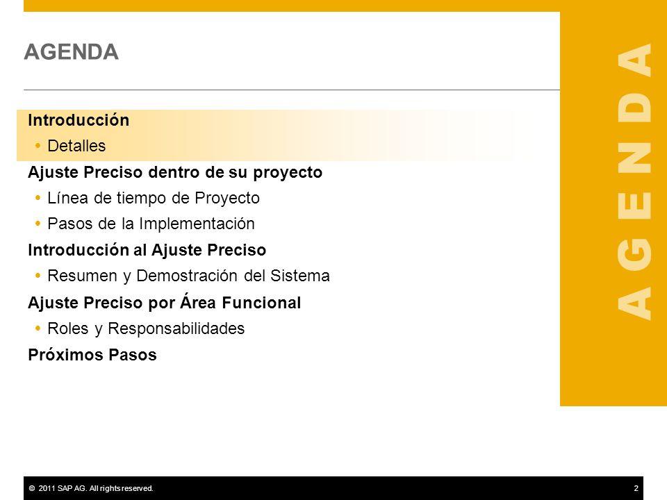 ©2011 SAP AG. All rights reserved.13 Introducción al Ajuste Preciso Demostración del Sistema