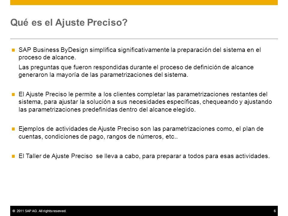 ©2011 SAP AG. All rights reserved.6 Qué es el Ajuste Preciso.