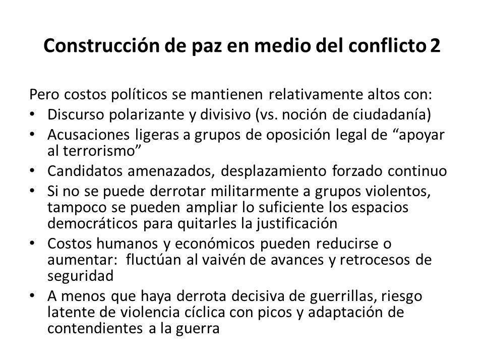 Construcción de paz en medio del conflicto 2 Pero costos políticos se mantienen relativamente altos con: Discurso polarizante y divisivo (vs. noción d