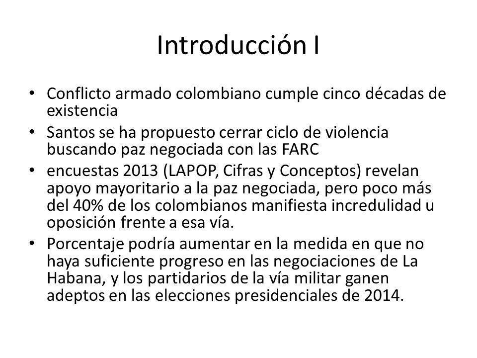 Introducción I Conflicto armado colombiano cumple cinco décadas de existencia Santos se ha propuesto cerrar ciclo de violencia buscando paz negociada