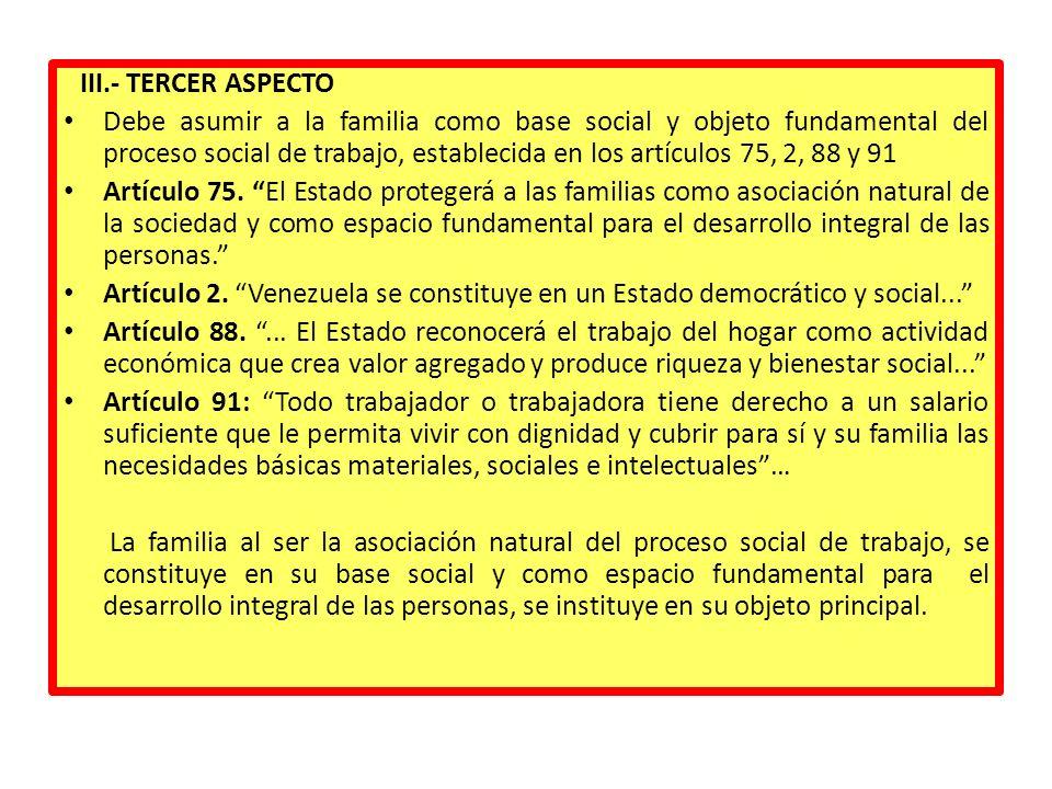 III.- TERCER ASPECTO Debe asumir a la familia como base social y objeto fundamental del proceso social de trabajo, establecida en los artículos 75, 2,
