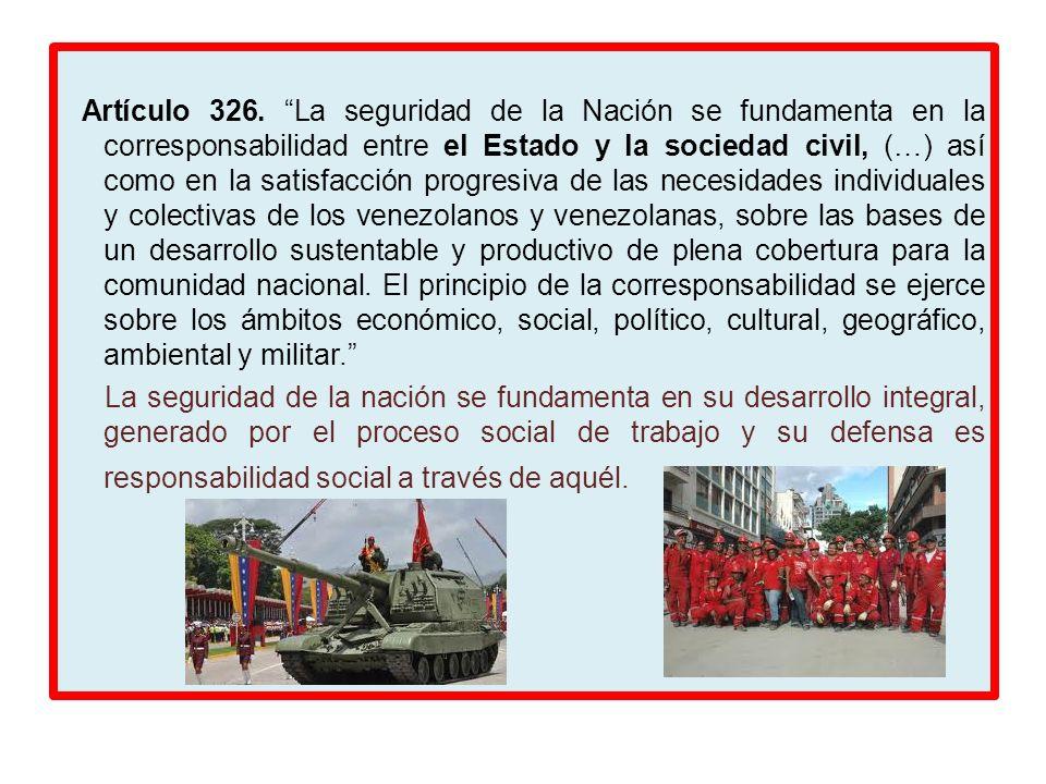 Artículo 326. La seguridad de la Nación se fundamenta en la corresponsabilidad entre el Estado y la sociedad civil, (…) así como en la satisfacción pr