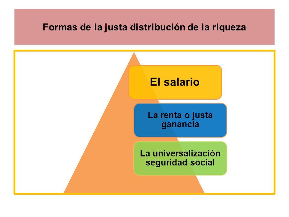 Formas de la justa distribución de la riqueza El salario La renta o justa ganancia La universalización seguridad social