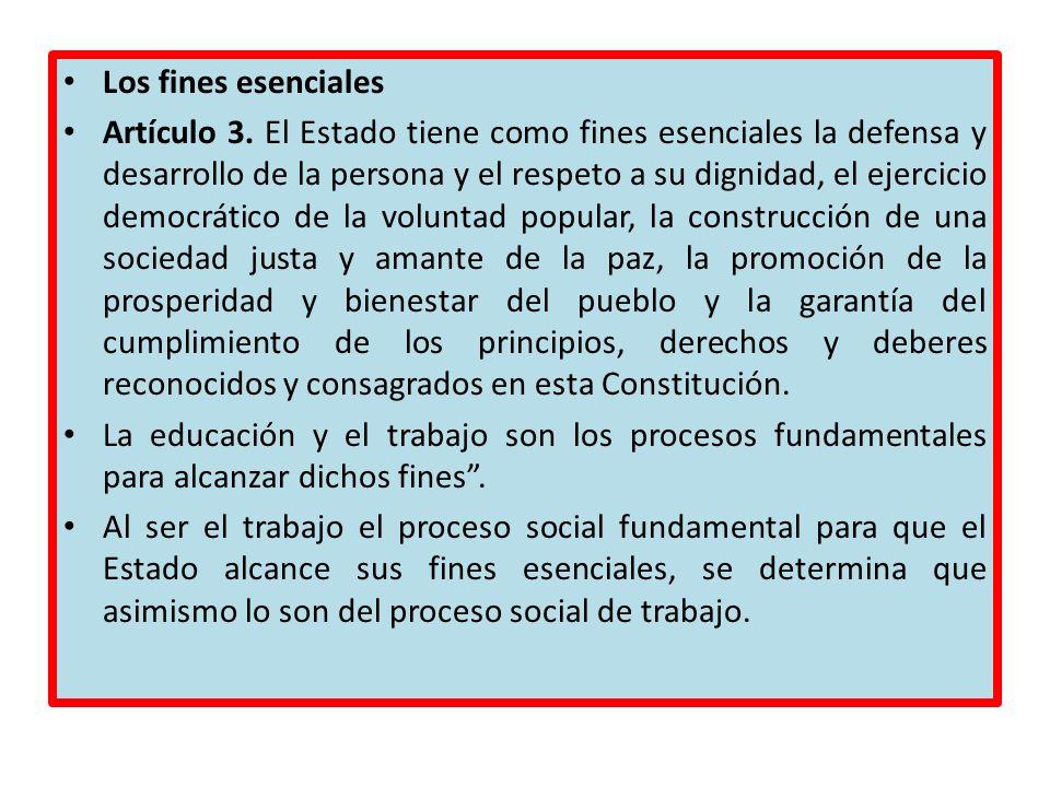Los fines esenciales Artículo 3. El Estado tiene como fines esenciales la defensa y desarrollo de la persona y el respeto a su dignidad, el ejercicio