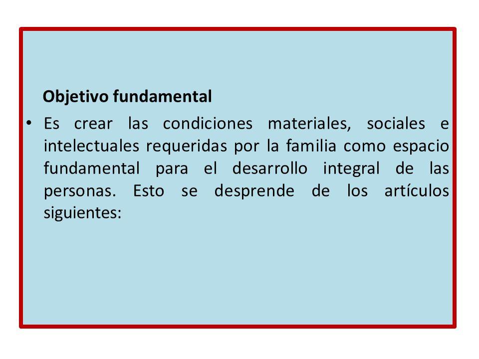 Objetivo fundamental Es crear las condiciones materiales, sociales e intelectuales requeridas por la familia como espacio fundamental para el desarrol