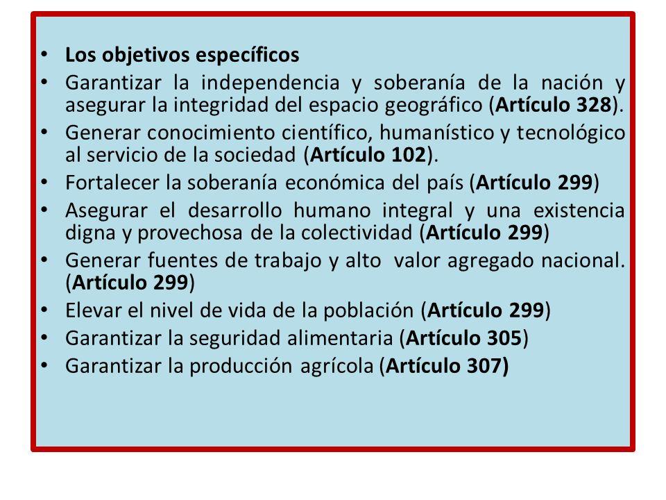 Los objetivos específicos Garantizar la independencia y soberanía de la nación y asegurar la integridad del espacio geográfico (Artículo 328). Generar