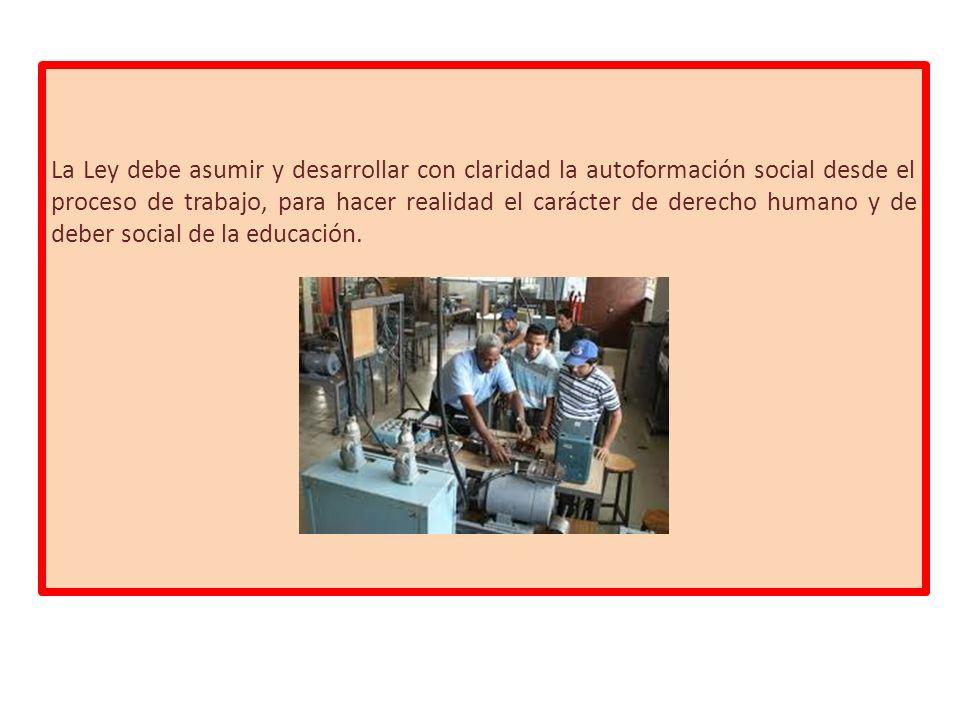 La Ley debe asumir y desarrollar con claridad la autoformación social desde el proceso de trabajo, para hacer realidad el carácter de derecho humano y