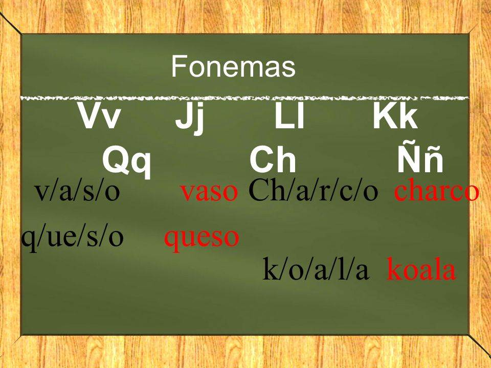 Fonemas VvJjLlKk QqChÑñ v/a/s/o vaso q/ue/s/o queso Ch/a/r/c/o charco k/o/a/l/akoala
