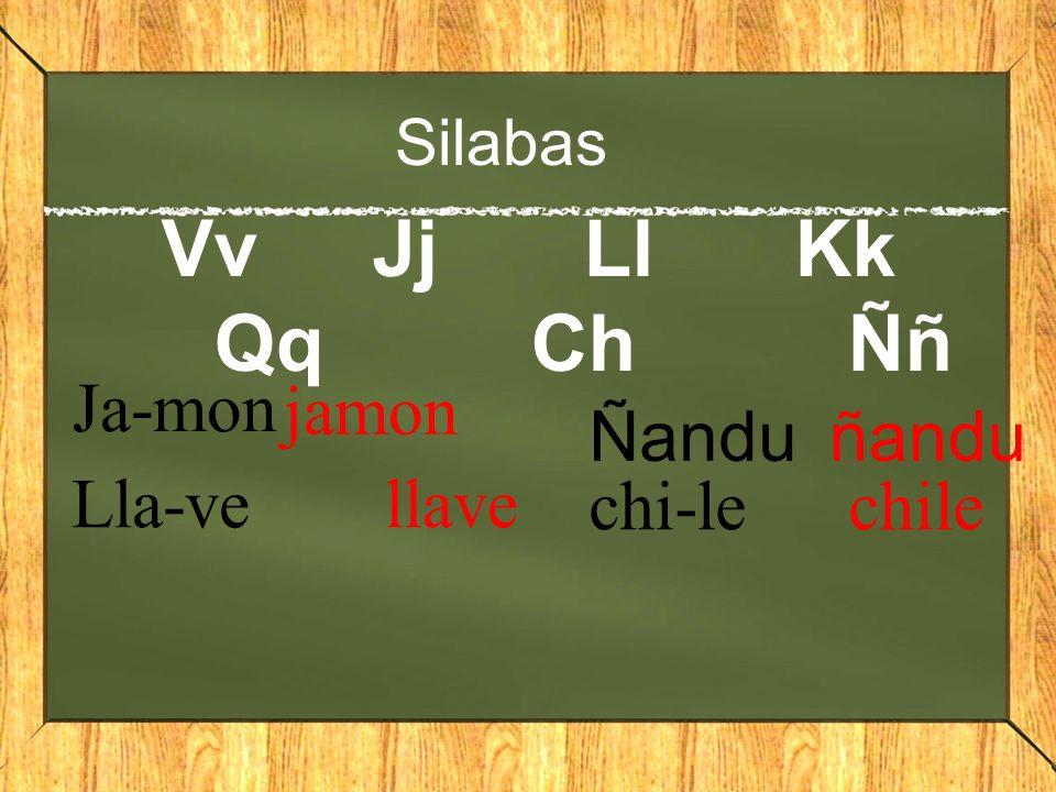 Silabas VvJjLlKk QqChÑñ Ja-mon jamon Lla-ve llave Ñanduñandu chi-le chile