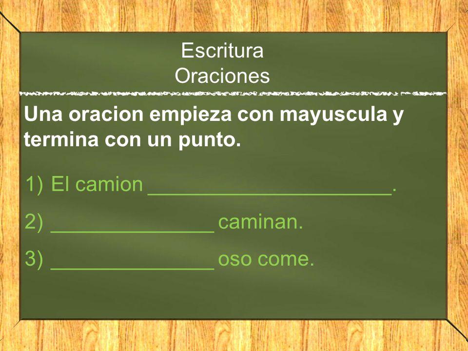 Escritura Oraciones 1)El camion _____________________. 2)______________ caminan. 3)______________ oso come. Una oracion empieza con mayuscula y termin