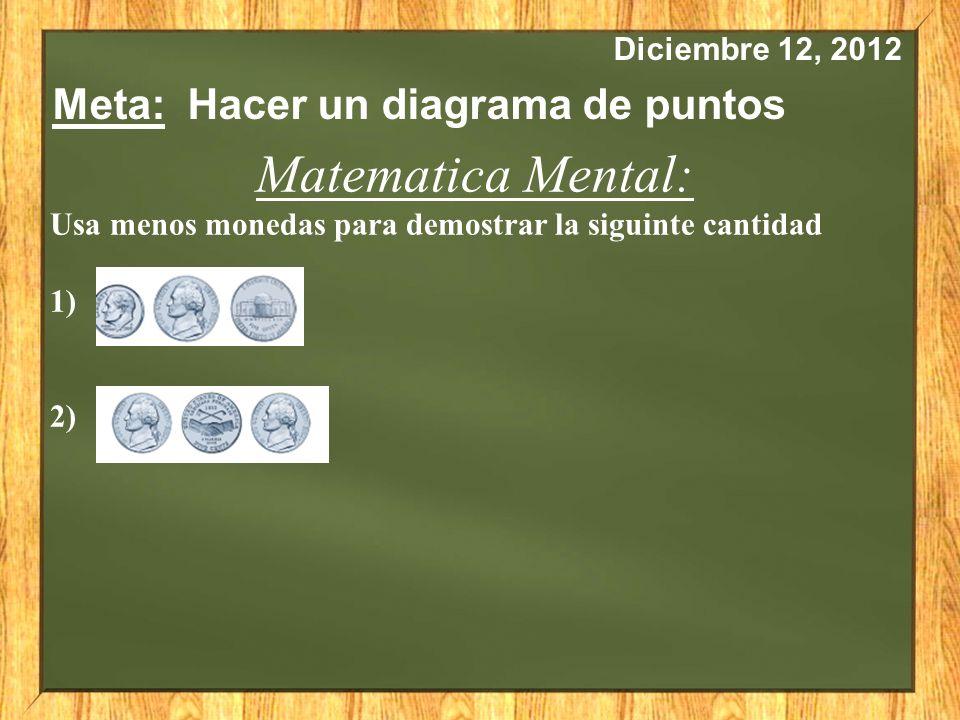 Diciembre 12, 2012 Meta: Hacer un diagrama de puntos Matematica Mental: Usa menos monedas para demostrar la siguinte cantidad 1) 2)