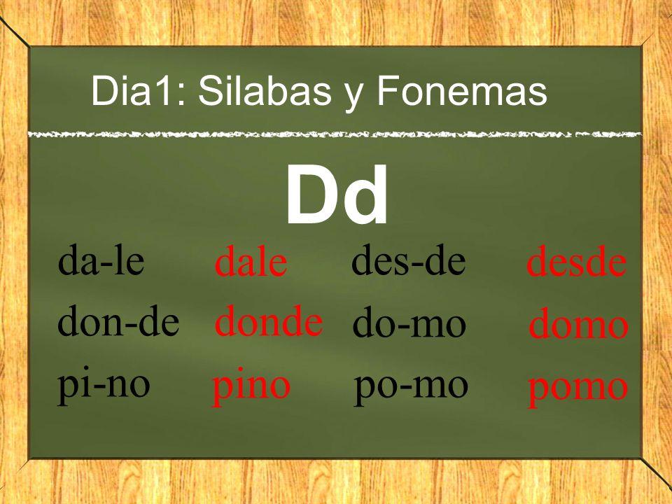 Dia1: Silabas y Fonemas Dd da-le dale don-de donde pi-no pino des-de desde do-mo domo po-mo pomo