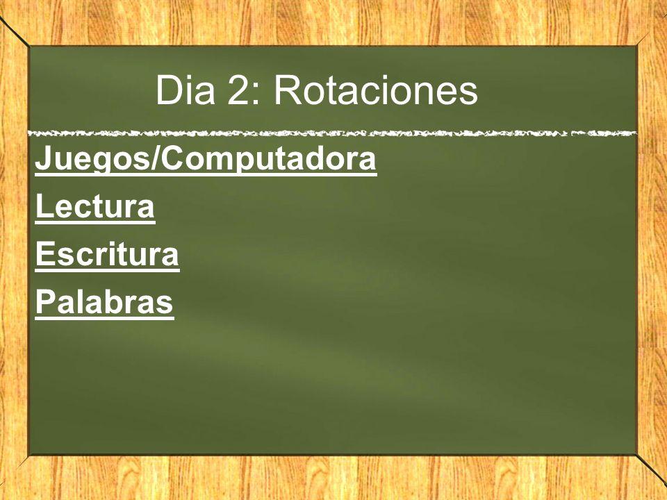 Dia 2: Rotaciones Juegos/Computadora Lectura Escritura Palabras