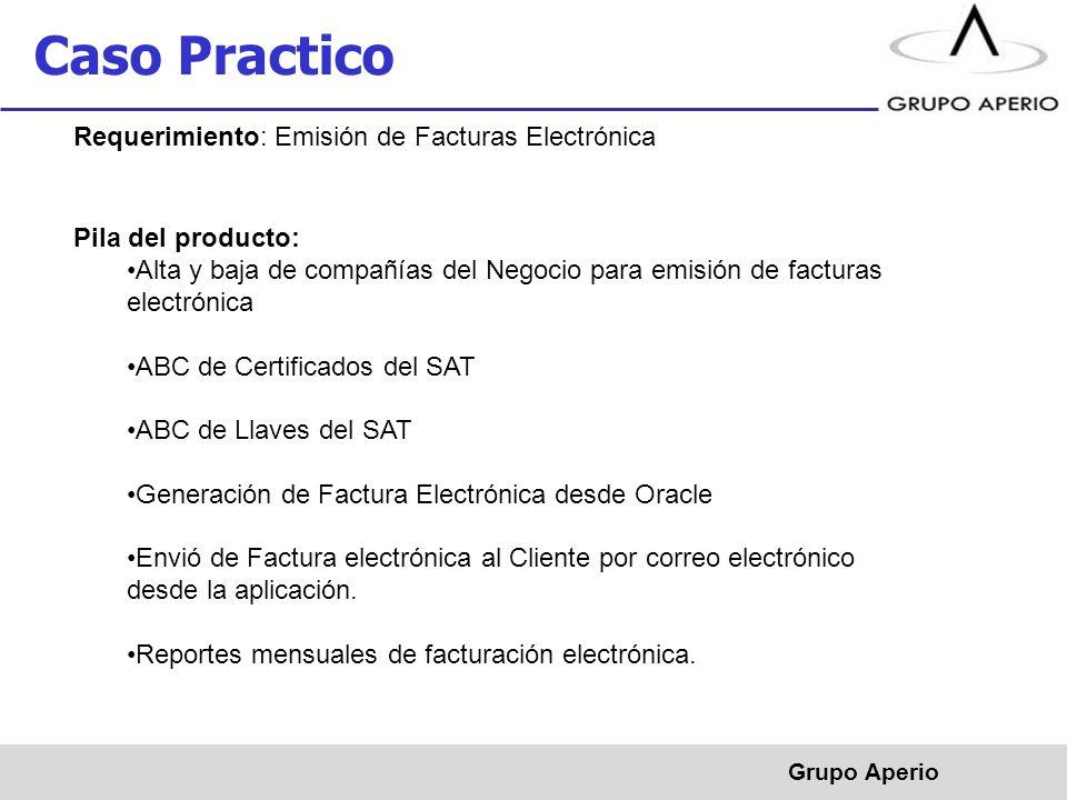 Aperio, S.A. de C.V. ® Caso Practico Grupo Aperio Requerimiento: Emisión de Facturas Electrónica Pila del producto: Alta y baja de compañías del Negoc