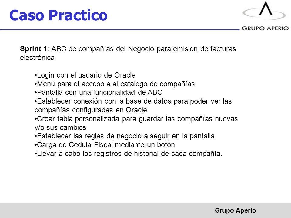 Aperio, S.A. de C.V. ® Caso Practico Grupo Aperio Sprint 1: ABC de compañías del Negocio para emisión de facturas electrónica Login con el usuario de