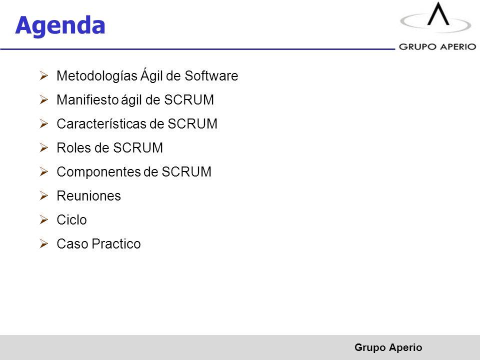 Aperio, S.A. de C.V. ® Metodologías Ágil de Software Manifiesto ágil de SCRUM Características de SCRUM Roles de SCRUM Componentes de SCRUM Reuniones C