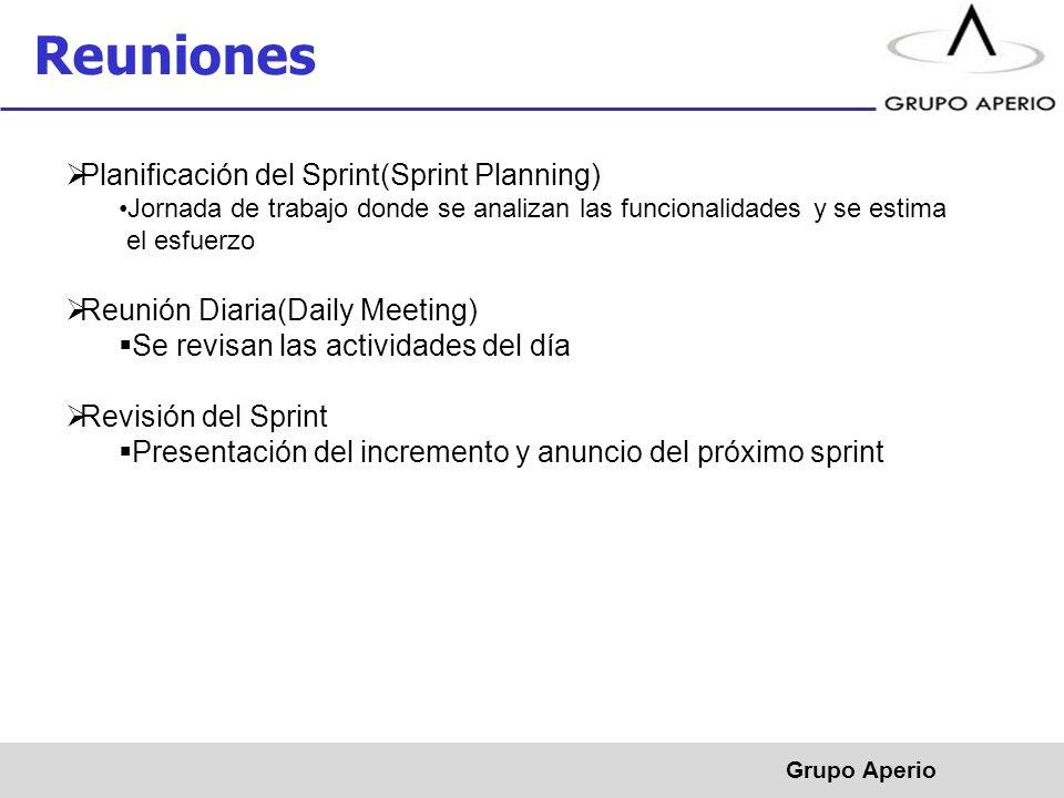 Aperio, S.A. de C.V. ® Reuniones Grupo Aperio Planificación del Sprint(Sprint Planning) Jornada de trabajo donde se analizan las funcionalidades y se