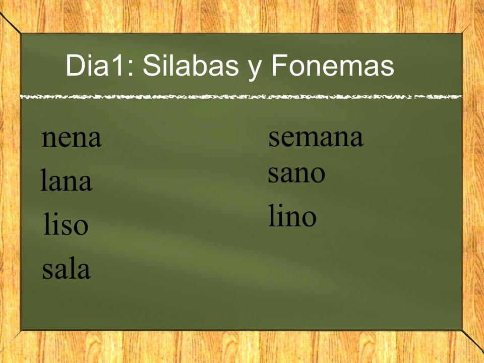 Dia1: Silabas y Fonemas nena lana liso sala semana sano lino
