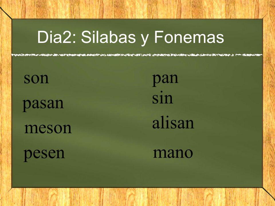 Dia2: Silabas y Fonemas son pasan meson pesen pan sin alisan mano