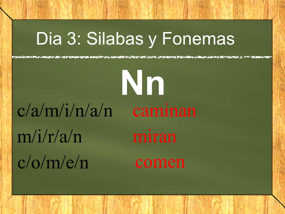 Dia 3: Silabas y Fonemas Nn c/a/m/i/n/a/n caminan m/i/r/a/n miran c/o/m/e/n comen