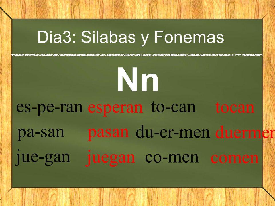 Dia3: Silabas y Fonemas Nn es-pe-ran esperan pa-san pasan jue-gan juegan to-can tocan du-er-men duermen co-men comen