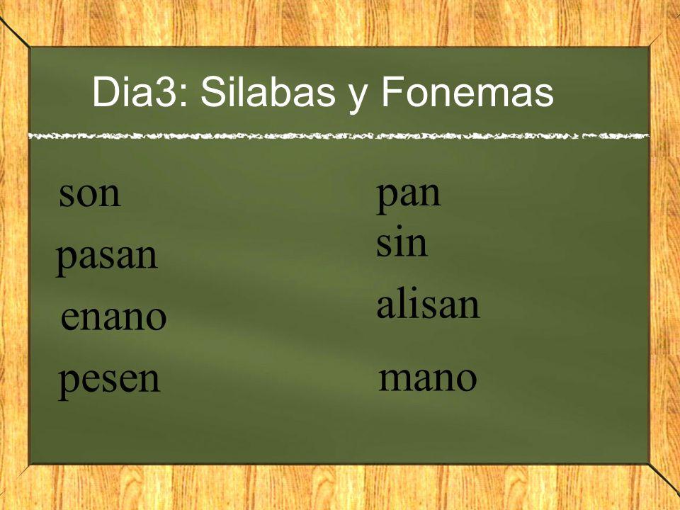 Dia3: Silabas y Fonemas son pasan enano pesen pan sin alisan mano