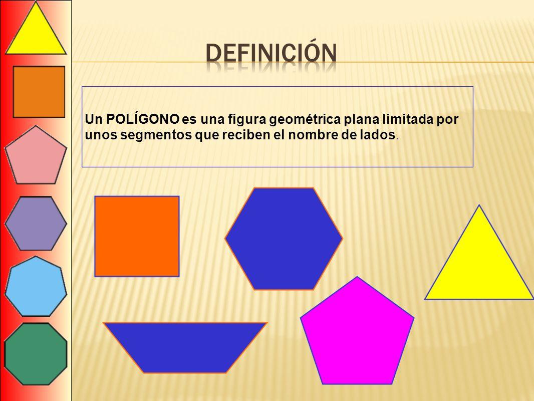 Un POLÍGONO es una figura geométrica plana limitada por unos segmentos que reciben el nombre de lados.