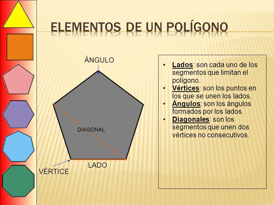 LADO VÉRTICE ÁNGULO DIAGONAL Lados: son cada uno de los segmentos que limitan el polígono. Vértices: son los puntos en los que se unen los lados. Ángu