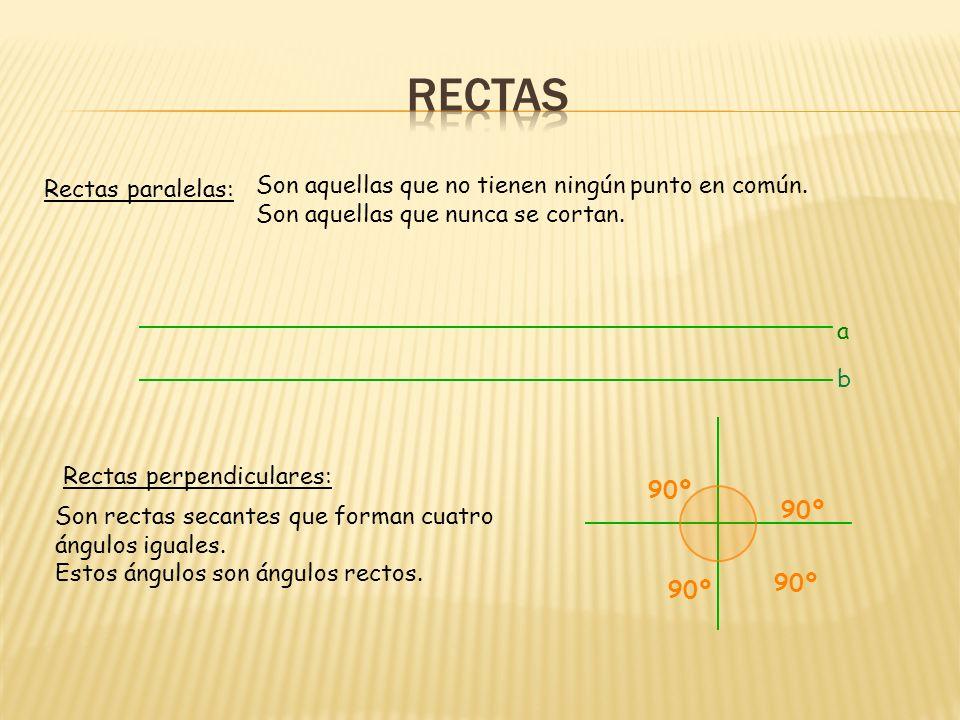 Rectas paralelas: Rectas perpendiculares: Son aquellas que no tienen ningún punto en común.