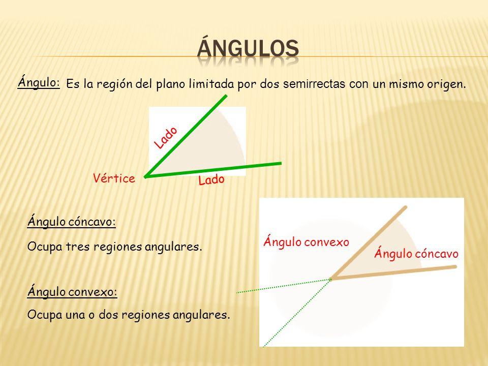Ángulo: Es la región del plano limitada por dos semirrectas con un mismo origen.