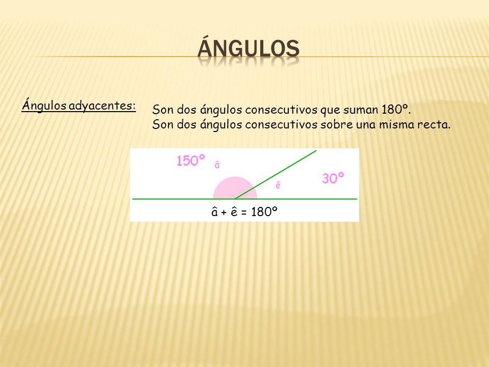 Ángulos adyacentes: Son dos ángulos consecutivos que suman 180º.