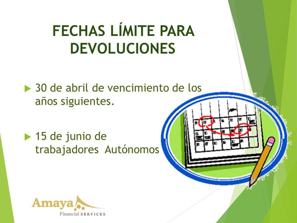 FECHAS LÍMITE PARA DEVOLUCIONES 30 de abril de vencimiento de los años siguientes. 15 de junio de trabajadores Autónomos