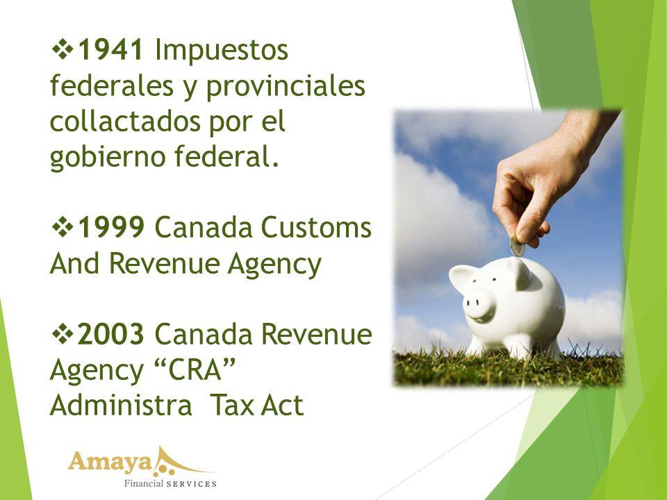 1941 Impuestos federales y provinciales collactados por el gobierno federal. 1999 Canada Customs And Revenue Agency 2003 Canada Revenue Agency CRA Adm