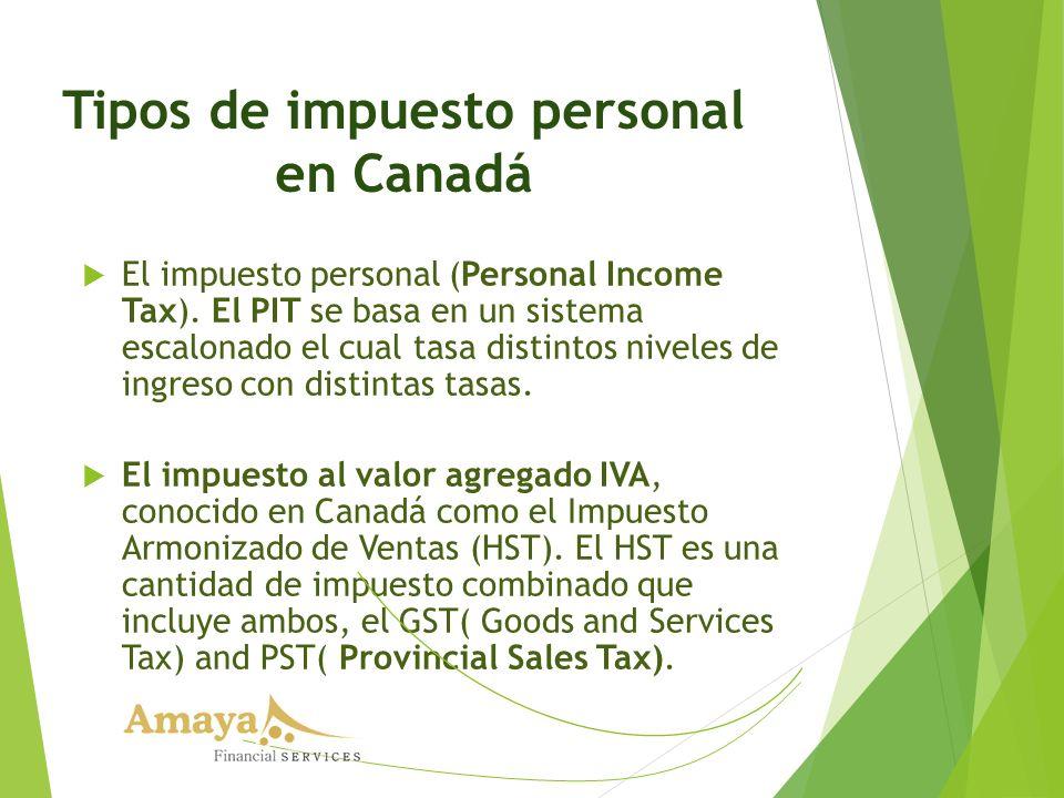 Tipos de impuesto personal en Canadá El impuesto personal (Personal Income Tax). El PIT se basa en un sistema escalonado el cual tasa distintos nivele