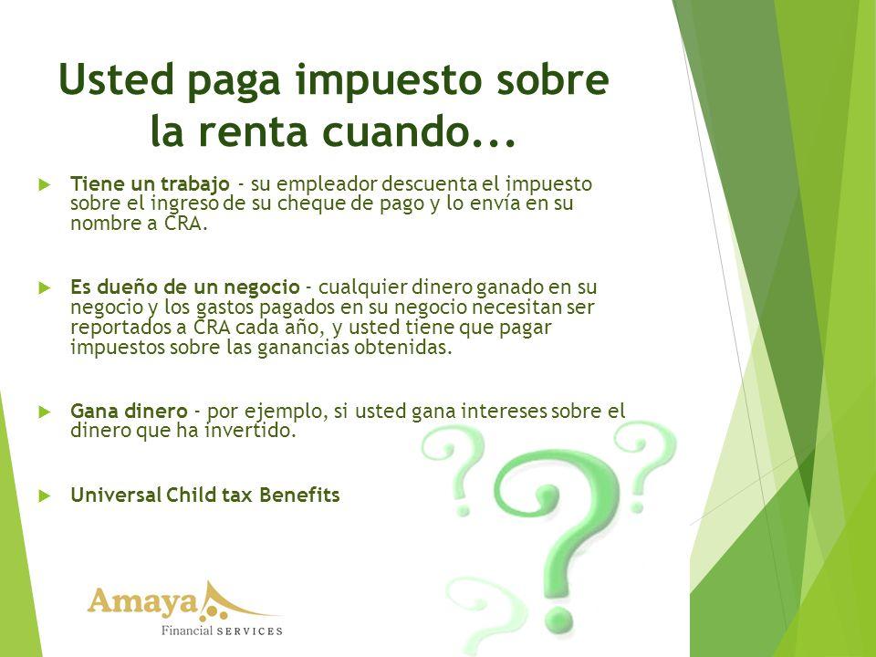Usted paga impuesto sobre la renta cuando... Tiene un trabajo - su empleador descuenta el impuesto sobre el ingreso de su cheque de pago y lo envía en