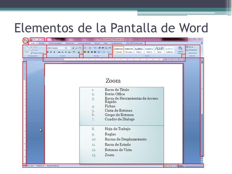 Elementos de la Pantalla de Word 1.Barra de Titulo 2.Botón Office 3.Barra de Herramientas de Acceso Rápido 4.Fichas 5.Cinta de Botones 6.Grupo de Boto