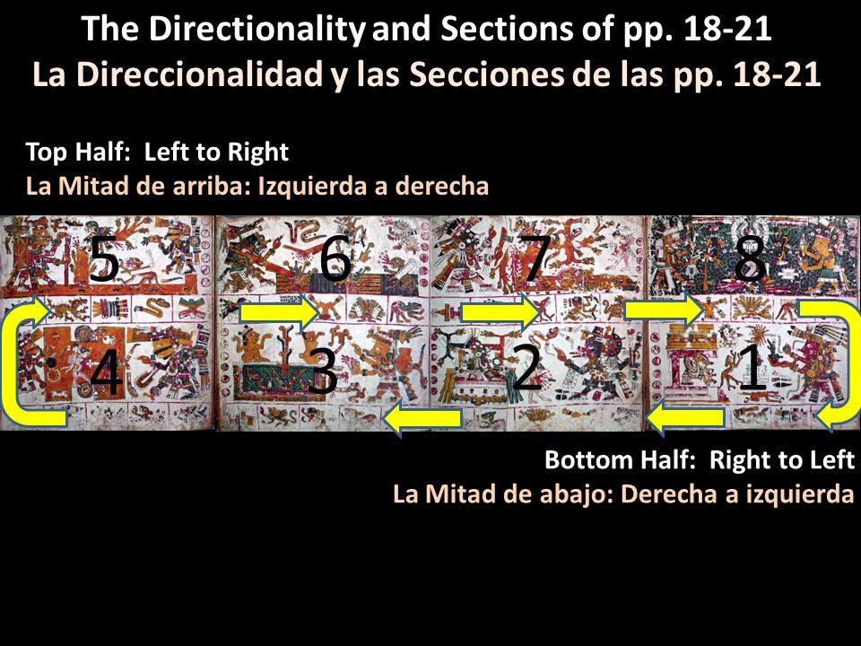 The Directionality and Sections of pp. 18-21 La Direccionalidad y las Secciones de las pp. 18-21 12 3 4 5678 Bottom Half: Right to Left La Mitad de ab