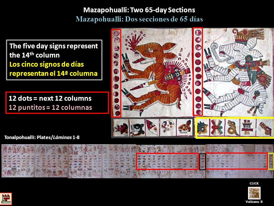 Tonalpohualli: Plates/Láminas 1-8 Mazapohualli: Two 65-day Sections Mazapohualli: Dos secciones de 65 días The five day signs represent the 14 th colu