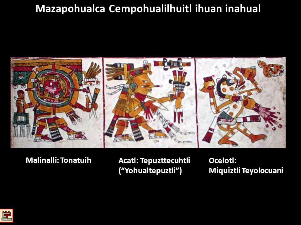 Mazapohualca Cempohualilhuitl ihuan inahual Malinalli: Tonatuih Acatl: Tepuzttecuhtli (Yohualtepuztli) Ocelotl: Miquiztli Teyolocuani