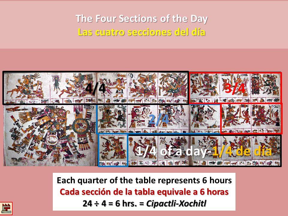 The Four Sections of the Day Las cuatro secciones del día Each quarter of the table represents 6 hours Cada sección de la tabla equivale a 6 horas 24