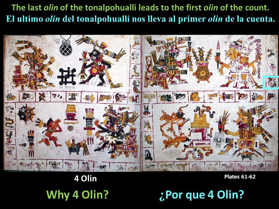 Codex Borgia: Plate 71 4 Olin Plates 61-62 Why 4 Olin? ¿ Por que 4 Olin? The last olin of the tonalpohualli leads to the first olin of the count. El u