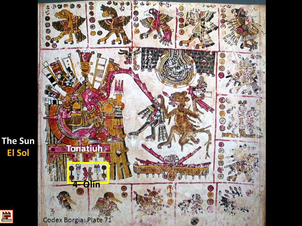 Codex Borgia: Plate 71 Tonatiuh The Sun El Sol 4- Olin