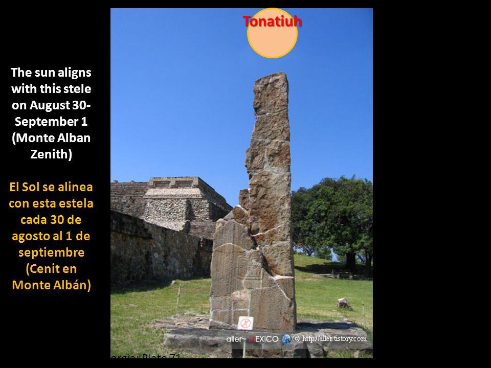 Codex Borgia: Plate 71 Tonatiuh The sun aligns with this stele on August 30- September 1 (Monte Alban Zenith) El Sol se alinea con esta estela cada 30