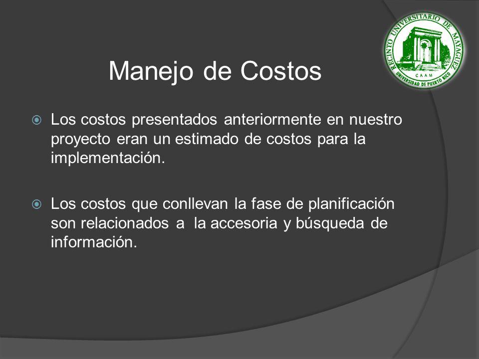 Manejo de Costos Los costos presentados anteriormente en nuestro proyecto eran un estimado de costos para la implementación.